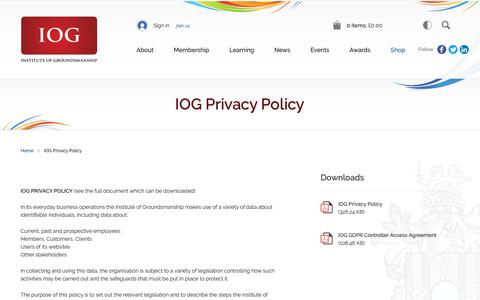 Screenshot of Privacy Page iog.org - IOG Privacy Policy | Institute of Groundsmanship - captured Oct. 12, 2018
