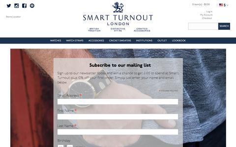 Screenshot of Signup Page smartturnout.com - Smart Turnout Email Newsletter Sign Up - captured Oct. 11, 2017