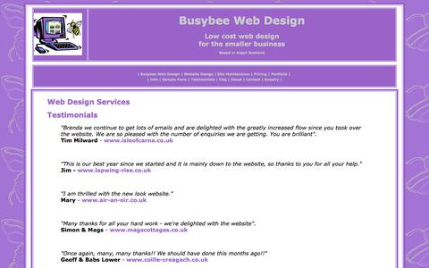 Screenshot of Testimonials Page busybee-webdesign.co.uk - Low cost Web Design for the smaller business - Busybee Web design services, based in Argyll Scotland- Testimonials - captured Dec. 6, 2017