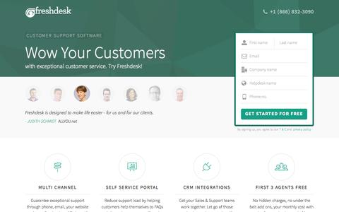 Screenshot of Landing Page freshdesk.com - Freshdesk customer support software | Start supporting customers for FREE - captured Oct. 21, 2015