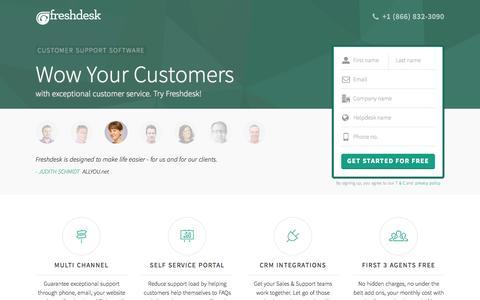 Screenshot of Landing Page freshdesk.com - Freshdesk customer support software | Start supporting customers for FREE - captured Oct. 21, 2015