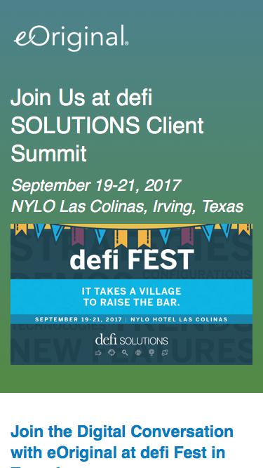 Join eOriginal at defi SOLUTIONS Client Summit