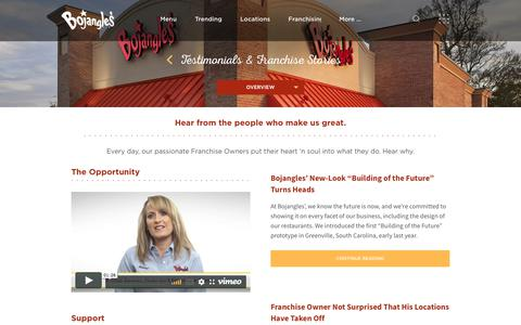 Screenshot of Testimonials Page bojangles.com - Testimonials & Franchise Stories - Bojangles' Famous Chicken 'n Biscuits - captured June 5, 2018