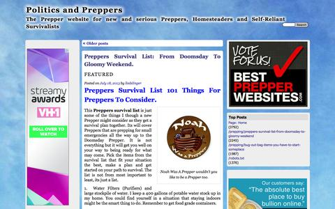Screenshot of Home Page politicsandpreppers.com - Politics and Preppers | The Prepper website for new and serious Preppers, Homesteaders and Self-Reliant Survivalists - captured Sept. 18, 2015