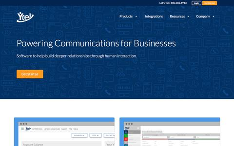 Screenshot of Home Page ytel.com - Communications API & Contact Center Software | Ytel - captured March 12, 2018