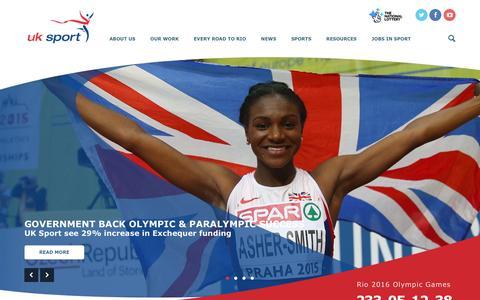 Screenshot of Home Page uksport.gov.uk - UK Sport   UK Sport - captured Dec. 15, 2015