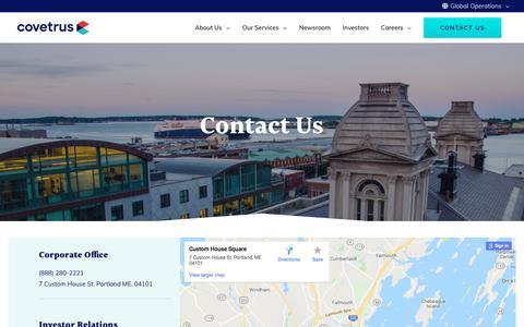 Screenshot of Contact Page covetrus.com - Contact Us - Covetrus - captured Aug. 22, 2019
