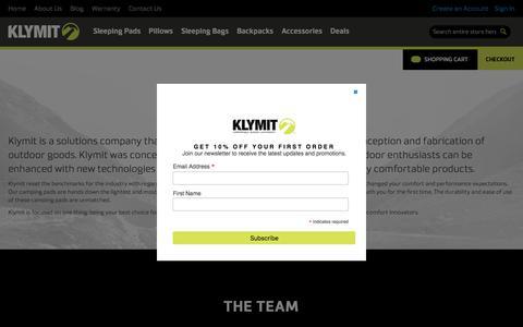 Screenshot of About Page klymit.com - About Us - KLYMIT - captured June 9, 2017