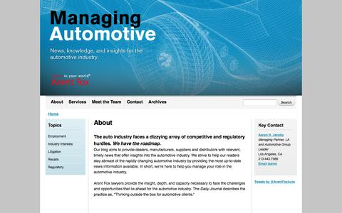 Screenshot of About Page managing-auto.com - About | Managing Automotive - captured March 4, 2016