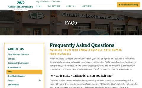Screenshot of FAQ Page cbac.com - Frequently Asked Questions | Christian Brothers Automotive - captured April 28, 2017