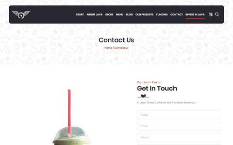 Screenshot of Contact Page javatimescaffe.com - JAVA TIMES CAFFE - captured Jan. 20, 2020