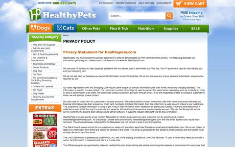 Screenshot of Privacy Page healthypets.com - PRIVACY POLICY - captured Sept. 24, 2014