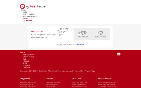 Screenshot of Signup Page mybesthelper.com - Babysitter, Nanny - childcare jobs and more ❤ MyBestHelper.com! - captured Sept. 10, 2014