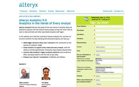 Screenshot of Landing Page alteryx.com - Alteryx Analytics 9.0: Analytics in the Hands of Every Analyst - captured Dec. 17, 2015