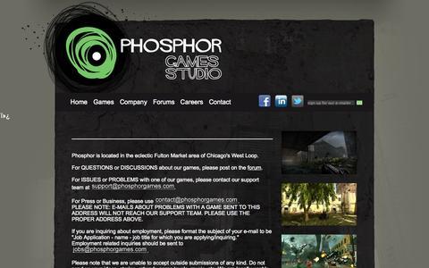 Screenshot of Contact Page phosphorgames.com - Phosphor Games - captured Sept. 29, 2014