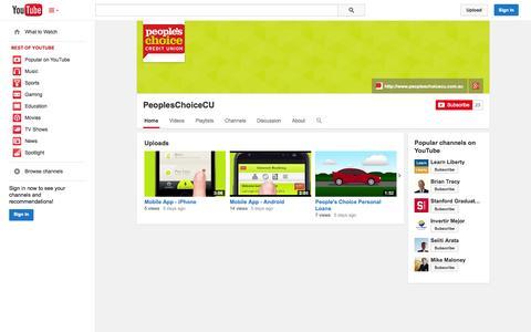 Screenshot of YouTube Page youtube.com - PeoplesChoiceCU  - YouTube - captured Oct. 22, 2014