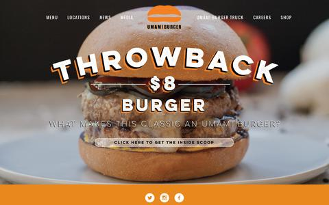 Screenshot of Home Page umamiburger.com - UMAMI BURGER - captured Jan. 23, 2015