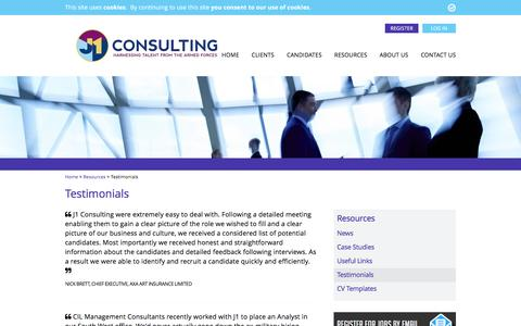 Screenshot of Testimonials Page j1consulting.co.uk - Testimonials - J1 Consulting - captured Nov. 18, 2016