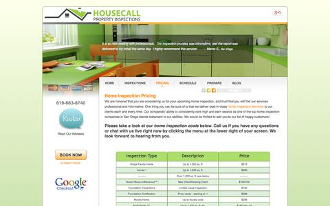 Screenshot of Pricing Page sandiegohomeinspect.com - Home Inspection Pricing - captured Oct. 3, 2014
