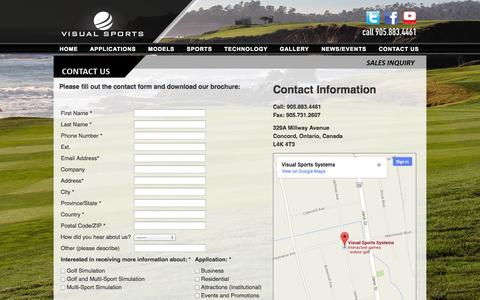 Screenshot of Contact Page visualsportssys.com - Visual Sports Systems |  Golf Simulators | Multi-Sport Simulators - CONTACT US - captured Oct. 26, 2014