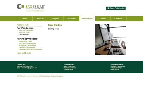 Screenshot of Case Studies Page sagesure.com - Case Studies - SageSure - captured Oct. 4, 2014