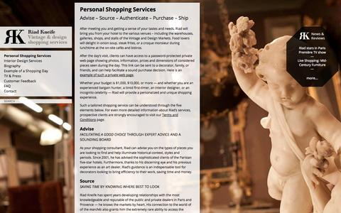 Screenshot of Services Page kneife.com - Personal Shopping Services | Riad Kneife - captured Oct. 1, 2014