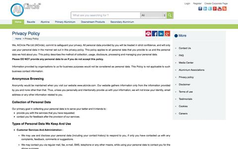 Screenshot of Privacy Page alcircle.com - Privacy policy - captured Sept. 19, 2014