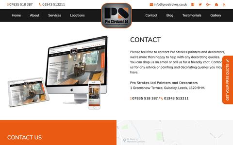 Screenshot of Contact Page prostrokes.co.uk - Contact | Pro Strokes - captured Sept. 29, 2018
