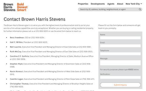 Screenshot of Contact Page bhsusa.com - Contact Brown Harris Stevens - Brown Harris Stevens   Bold Honest Smart, Luxury Real Estate - captured July 20, 2019