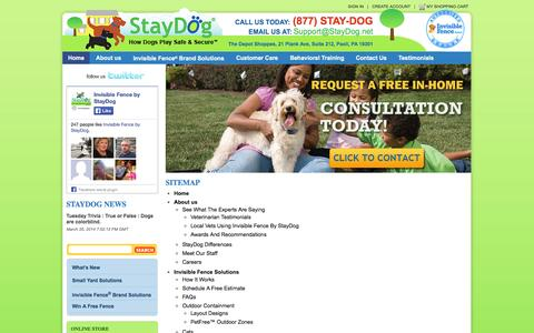 Screenshot of Site Map Page staydog.net - Contact Stay Dog Family Pet Solutions, Dog Harness Pennsylvania, Dog Supplies Malvern - captured Oct. 6, 2014