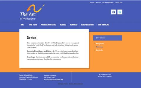 Screenshot of Services Page sparcphilly.org - The Arc of Philadelphia - captured Feb. 15, 2016