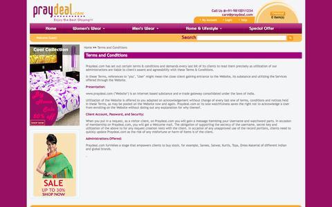 Screenshot of Terms Page praydeal.com - Contact Us - PrayDeal.Com - captured Sept. 30, 2014