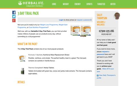 Screenshot of Trial Page welcome2wellness.co.uk - 3 Day Trial Pack - Sally Thompson's Herbalife Shop - captured Oct. 9, 2014