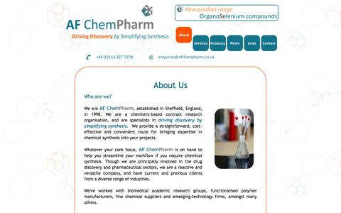 Screenshot of Home Page afchempharm.co.uk - AF ChemPharm Ltd | Custom synthesis, contract research and consultancy | About Us - captured Sept. 30, 2014