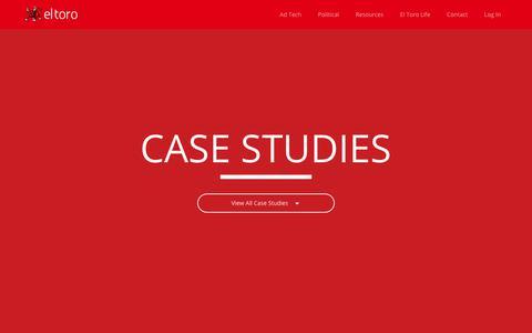 Screenshot of Case Studies Page eltoro.com - Case Studies for El Toro IP Targeting - captured Feb. 6, 2018