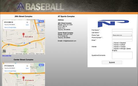 Screenshot of Contact Page atbaseball.com - NPA | Contact | Northwest Prospects Academy - captured Oct. 4, 2014