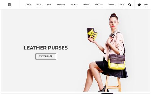 Screenshot of Home Page just4leather.co.uk - Leather Bags, Belts, Purses & Wallets - Mens & Womens Designer Leather Products - Just4Leather - captured Feb. 16, 2018