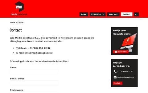 Screenshot of Contact Page mediacreatives.nl - Contact - Media Creatives - captured Sept. 20, 2018