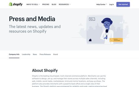 Screenshot of Press Page shopify.com - Shopify Press and Media - captured April 8, 2018