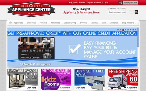 Screenshot of Home Page appliancecenterdirect.com - Appliance Center Home Store | Serving Ohio & Michigan: Appliances, TVs, Furniture, Kitchen Cabinets, Mattress, Flooring, Lighting & more! - captured Oct. 4, 2014