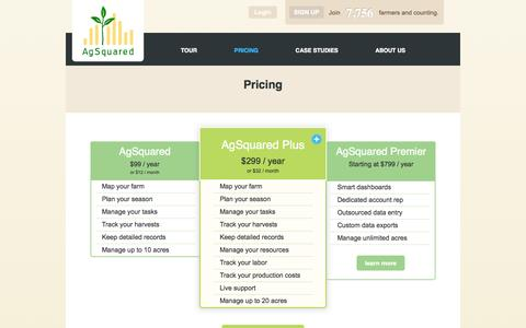 Screenshot of Pricing Page agsquared.com - AgSquared   pricing - captured Sept. 12, 2014
