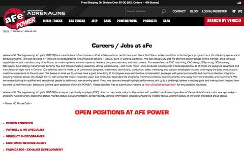 Screenshot of Jobs Page afepower.com - Careers / Jobs at aFe | aFe POWER - captured Sept. 23, 2018