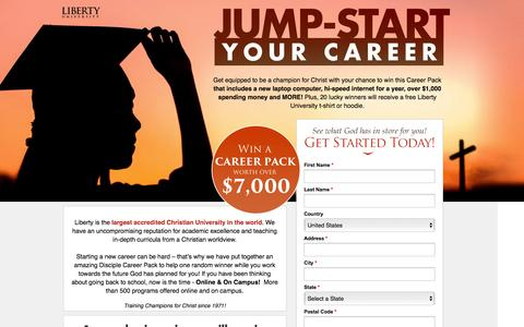 Screenshot of Landing Page beliefnet.com - Liberty University - Sign up to jump start your career! - captured March 17, 2016