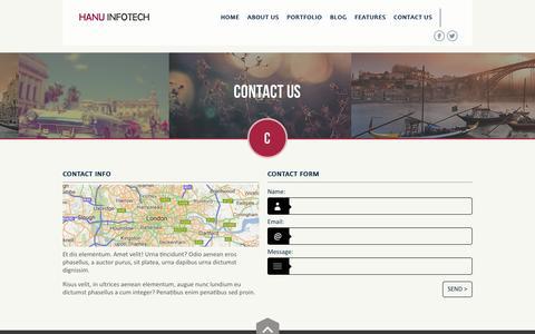 Screenshot of Contact Page hanuinfo.com - Hexagonal - Clean Multipurpose Responsive Website - captured March 8, 2016