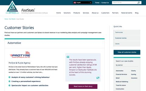 Screenshot of Case Studies Page apteco.com - Marketing data analysis & campaign management case studies - captured March 6, 2017