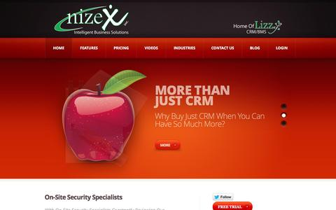 Screenshot of Home Page nizex.com - Powersports Business Management System, OPE Business Management System, CRM, PDM, Payroll - captured Oct. 7, 2014