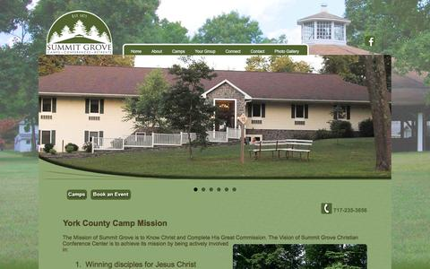 Screenshot of About Page summitgrovecamp.org - York County Camp Mission | Summit Grove - captured Dec. 3, 2016