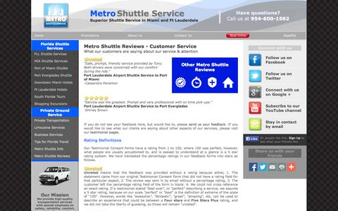 Screenshot of Support Page metroshuttleservice.com - Metro Shuttle Service Reviews on Service - captured Oct. 27, 2014