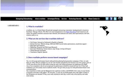 Screenshot of FAQ Page evansales.com - evanSales - captured Oct. 3, 2014