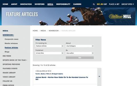 Screenshot of williamhillplc.com - William Hill PLC: Feature Articles                 - Newsroom                 - Media - captured Sept. 4, 2016